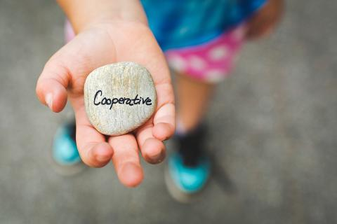 "Image of child's outstretched hand holding a stone carved with the word ""cooperative"""
