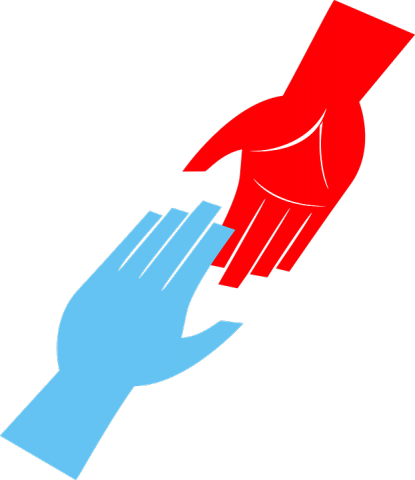 Image of hand reaching up and a hand reaching to help